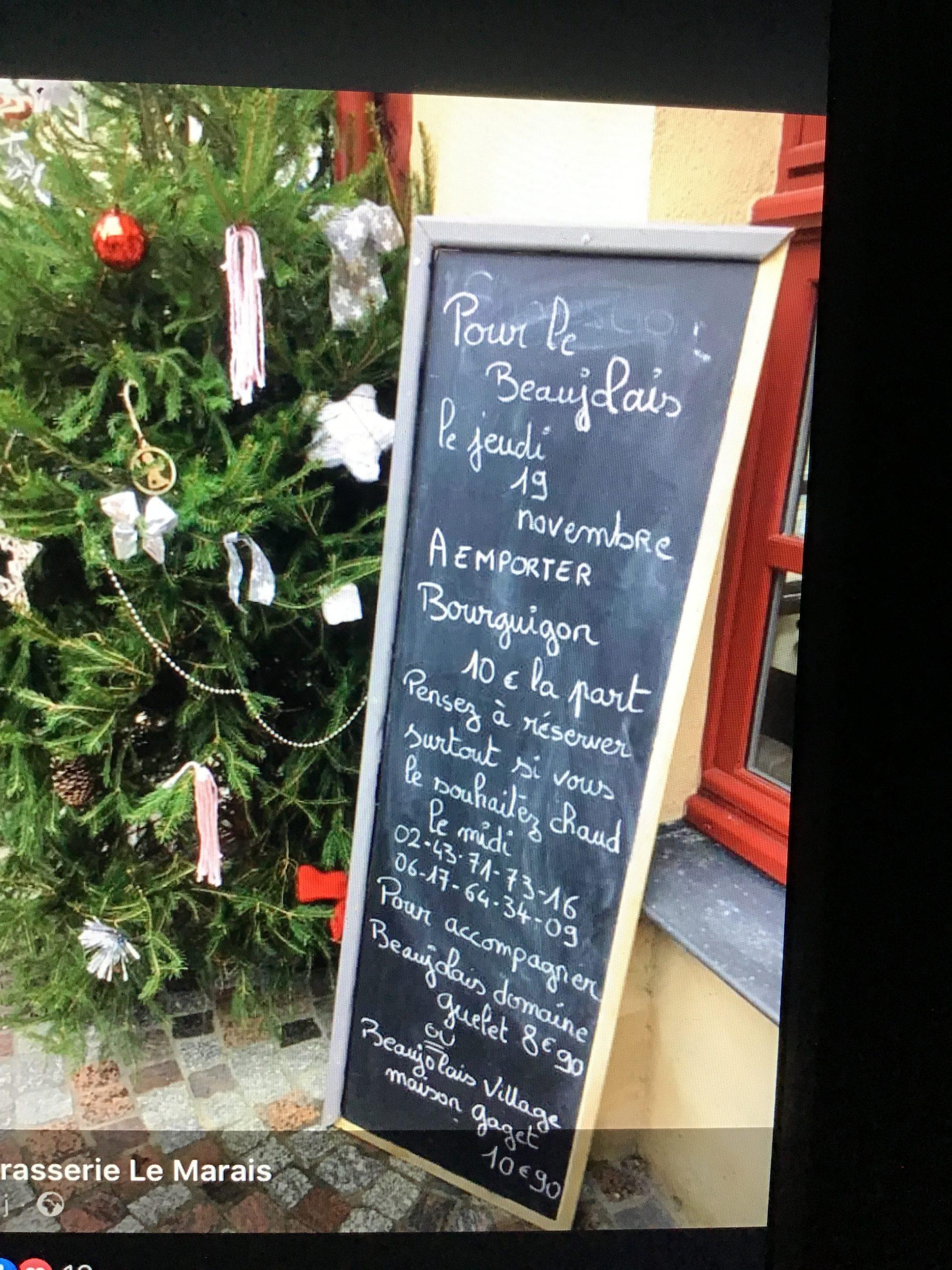 Beaujolais nouveau à la Brasserie le Marais